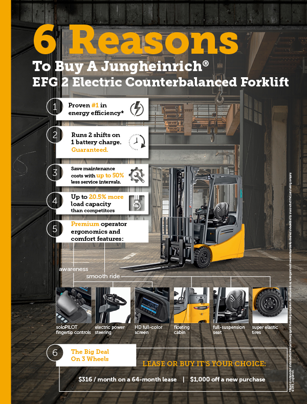 6 Reasons to buy a Jungheinrich EFG sit-down electric forklift